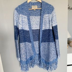 Lucky Brand Blue Textured Stripe Duster Cardigan M
